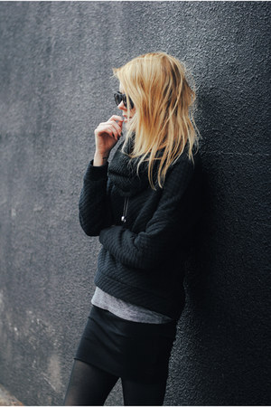 quilted Zara top - wool Emu Australia skirt - nike sneakers
