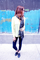 neon H&M top - oxfords mia shoes shoes - jeggings American Rag leggings