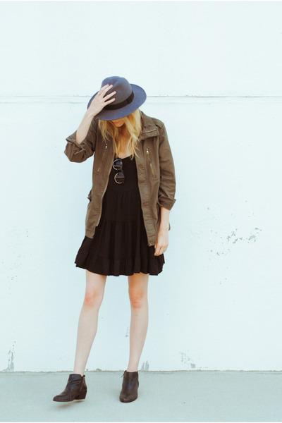 H&M hat - sam edelman boots - brandy melville dress