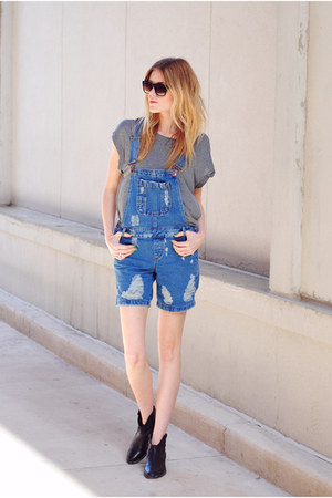 Steve Madden boots - H&amp;M t-shirt - denim dungarees asos romper