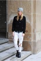 Hunter boots - boyfriend Zara jeans - quilted Mango sweater