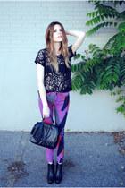 geometric BDG pants - H&M bag - Steve Madden wedges - lace Forever 21 top