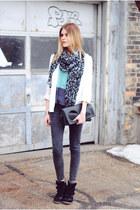 H&M blazer - acid wash Zara pants - color block Gentle Fawn top