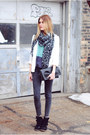 H&M blazer - acid wash Zara pants - color block Gentle Fawn top