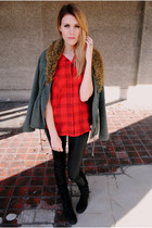 fur military Urban Outfitters jacket - Steve Madden boots