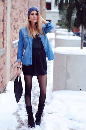 denim chambray H&amp;M top - Steve Madden boots - Michael Kors hat