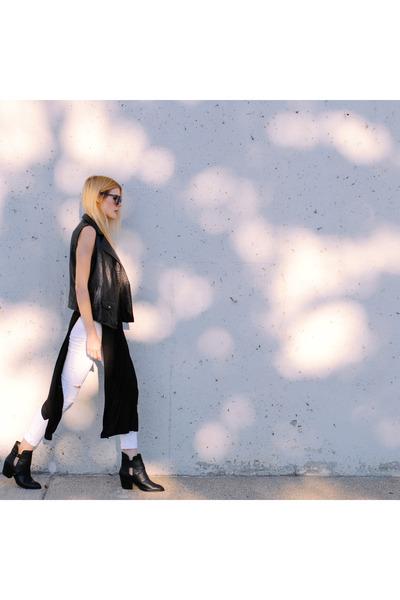 Shellys London boots - black swan clothing vest - salsit pants