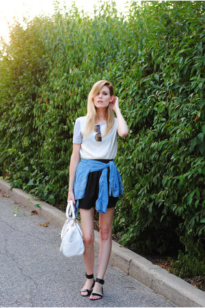 Mango top - chambray H&M shirt - American Apparel skirt