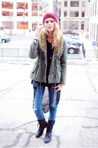fur Urban Outfitters jacket - Steve Madden boots - Diesel jeans