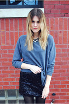 sequins Francescas Collections skirt - Steve Madden boots - H&M sweatshirt