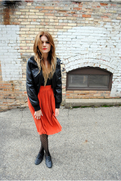 pleated skirt American Apparel skirt - leather jacket JouJou jacket