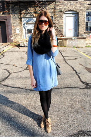 tube scarf H&M scarf - jean dress Zara dress