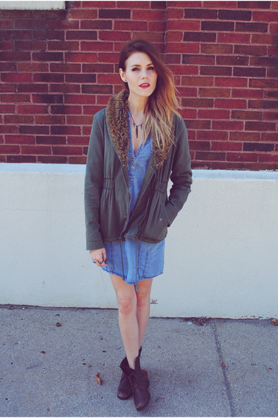 denim dress Zara dress - Diba boots - military Urban Outfitters jacket
