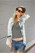 denim acid wash free people top - boyfriend denim H&M shorts