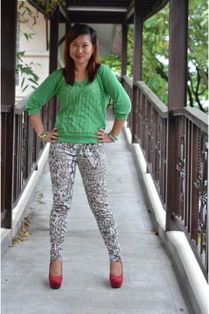 red Payless wedges - green Bayo sweater - teal Zara pants