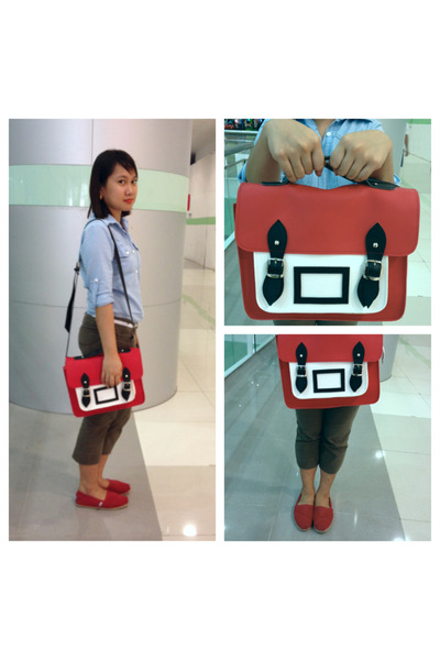 red satchel Impulse Co bag - brown brown Penshoppe pants - red red TOMS flats