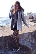 blue fur mendocino scarf - heather gray patterned KG Kurt Geiger loafers