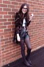 Amethyst-velour-elie-tahari-jacket-black-leather-aritzia-shorts
