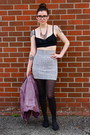 Amethyst-leather-jacket-muubaa-jacket-heather-gray-bodycon-bcbg-skirt