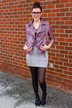 amethyst leather jacket Muubaa jacket - heather gray bodycon BCBG skirt