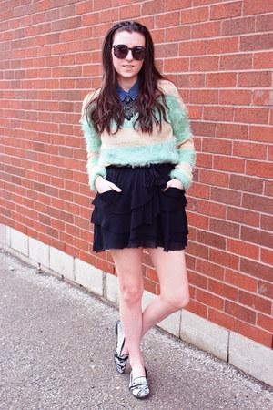 black Karen Walker sunglasses - aquamarine striped fur Wasteland sweater