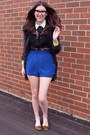 Black-lace-top-lush-shirt-blue-aritzia-shorts-brown-fur-prada-flats