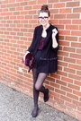 Black-peplum-tweed-zara-jacket-magenta-fur-prada-bag