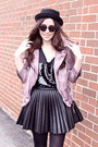 Black-bear-ears-deena-ozzy-hat-amethyst-leather-jacket-muubaa-jacket