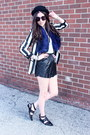 Black-deena-ozzy-hat-white-striped-zara-blazer-blue-fur-mendocino-scarf