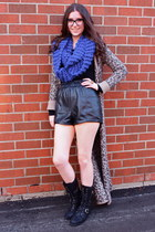 brown free people sweater - blue Zara scarf - black Aritzia shorts