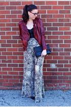 brick red leather jacket Muubaa jacket - black Zara bag - black H&M top