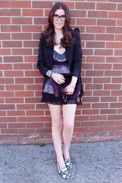 magenta Prada bag - amethyst free people dress - black Zara blazer
