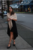 black black cotton dress - beige silk and cotton scarf - black clogs