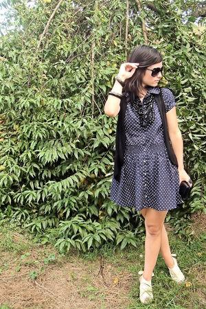 blue vintage dress - white BLANCO shoes - black made by me vest - black vintage