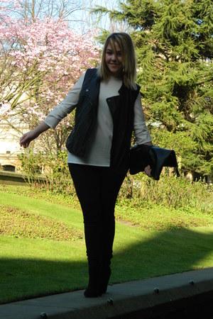 Zara blouse - Topshop boots - Topshop bag - Zara pants - H&M vest