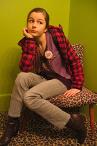 red tjmax coat - gray Walmart P jeans - brown boots - purple cardigan - brown sh