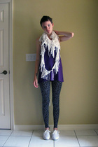 made by me top - made by me scarf - made by me tights - Vans shoes