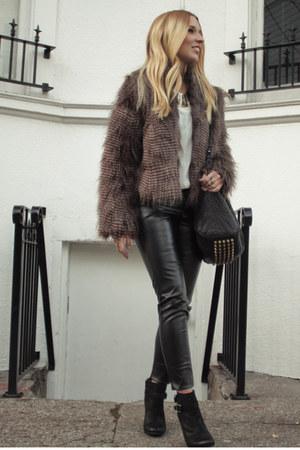 light brown faux fur Allen B jacket - black Lucky Brand boots