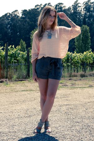 pink H&M shirt - gray wedge sandals Dolce Vita shoes - green Forever 21 shorts