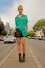Green-american-apparel-shirt-black-bird-by-juicy-couture-shorts-black-jeffre