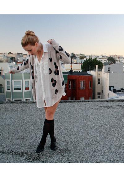 brown wilfred cardigan - white American Apparel blouse - black Target socks - bl