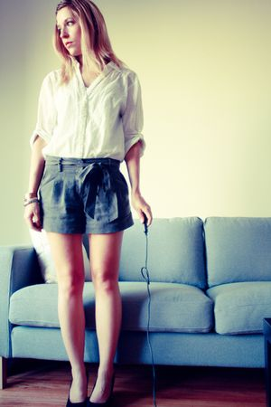 white Forever 21 shirt - green Forever 21 shorts - black Jeffrey Campbell shoes