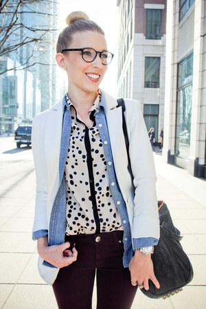 Zara blouse - bedazzle Mia shoes - H&M blazer - RVCA shirt