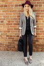 Maroon-bakers-shoes-hat-heather-gray-juicy-couture-blazer