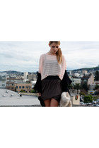 black Helmut Lang cardigan - light pink H&M shirt - brown  skirt