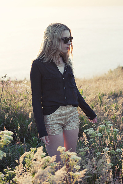 gold  shorts - black wilfred blouse