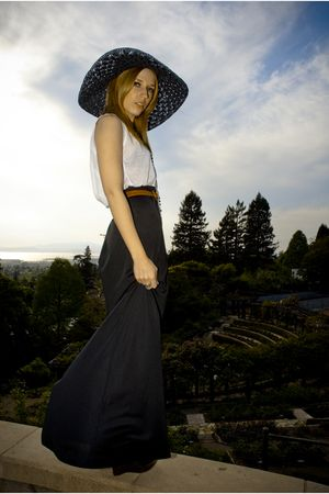 black Billabong hat - brown mules Steve Madden shoes - black maxi thrifted skirt