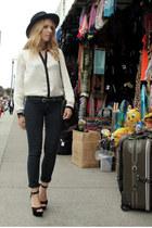 white Zara blouse - navy JBrand jeans - black vintage Harley Davidson hat