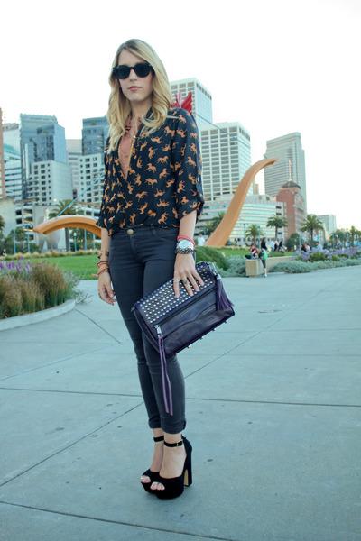 nude sheer Forever 21 blouse - navy JBrand jeans