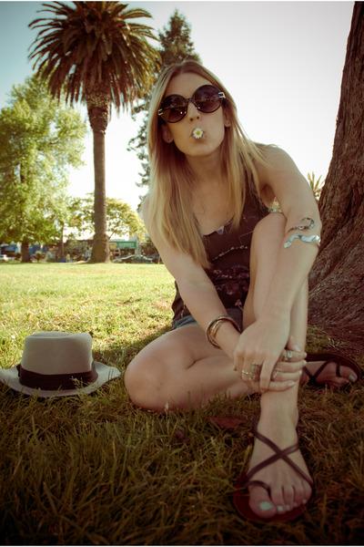 black Target shirt - blue DIY shorts - brown volcom shoes - gray H&M hat - black